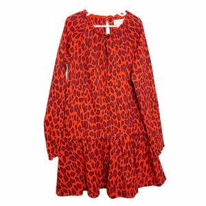 Kate Spade Drop Waist Ruffle Dress Leopard Print